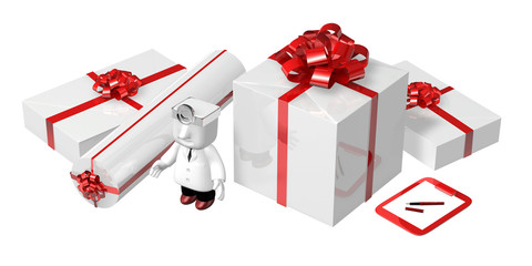3d doctor standing toward with his checking presents . 3D Square