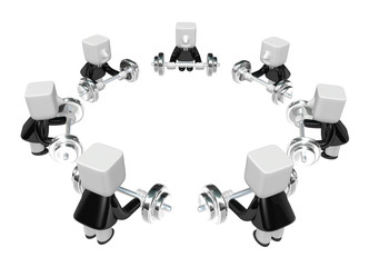 3d men holding their barbell together. 3D Square Man Series.