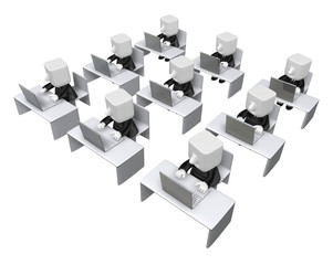 3d business men sitting to study by computer. 3D Square Man Seri