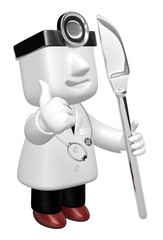 3d medical doctor man with his knife. 3D Square Man Series.