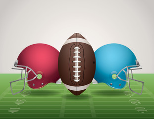 American Football Field, Ball, and Helmets