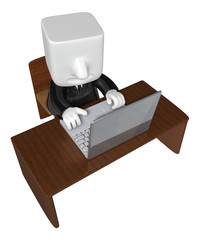 3d business man working with his laptop. 3D Square Man Series.