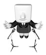 3d business man speaking behind stand mike. 3D Square Man Series