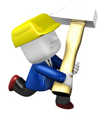 3d engineer working with their big hammer. 3D Square Man Series.