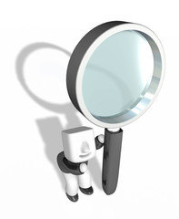 3d business man holding big magnifying glass. 3D Square Man Seri