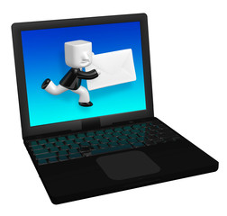 3d business man sanding letter in laptop. 3D Square Man Series.