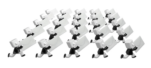 3D Business man showing to front his white letter. 3D Square Man