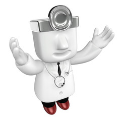 3d young doctor man standing with his arms up. 3D Square Man Ser