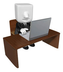 3d Businessman sitting at a table. Working at a laptop. 3D Squar