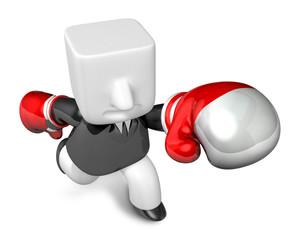 3d Businessman powerful punch. 3D Square Man Series.