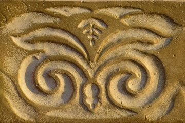 Decorative pattern on painted alabaster