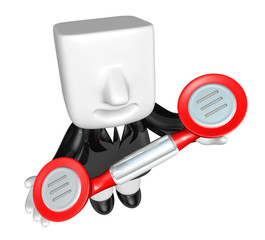 3D Businessman standing in a circle with their phone. 3D Square