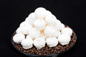 French vanilla meringue cookies and  coffee beans