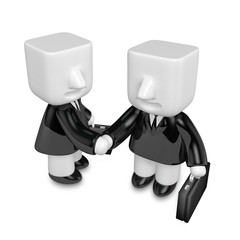 3d business men handshaking each other. 3D Square Man Series.