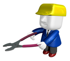 3d render of cartoon character with pliers. 3D Square Man Series