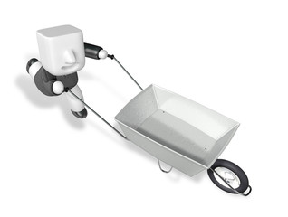 3D Business man Mascot handcart. 3D Square Man Series.