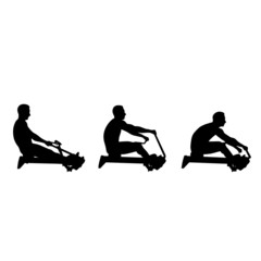 man exercise on rowing machine vector silhouette
