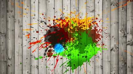 ink splatter on wooden wall