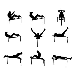 man doing abs vector silhouettes