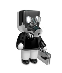 3d businessman person in a gas mask. 3D Square Man Series.
