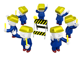 3d Businessman working. 3D Square Man Series.