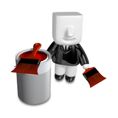 3d Businessman with red paint splashing in paint. 3D Square Man
