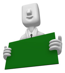 3D Business man Mascot holding a big board with both Green chalk