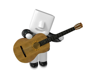 3D Business man Mascot playing the guitar. 3D Square Man Series.