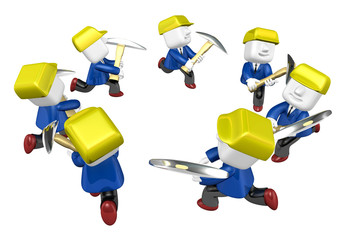 3d man miner with hardhat and pickaxe on white background. 3D Sq