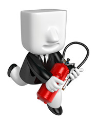 3D Businessman holding fire extinguisher. 3D Square Man Series.