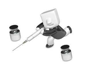 3D human character The Doctor with a Syringe. 3D Square Man Seri