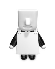 3d businessman People admire advertising. 3D Square Man Series.