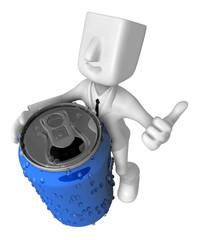 3d Businessman beverage can. 3D Square Man Series.