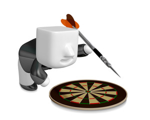3D Business man with a target and arrows. 3D Square Man Series.