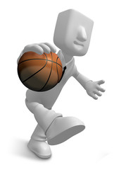 3d Businessman basketball player with ball. 3D Square Man Series