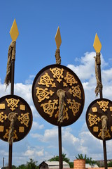Decorative shields hanging on spears