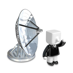3d Businessman person with a parabolic dish. 3D Square Man Serie