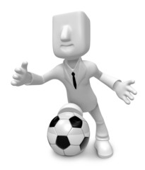 3D Businessman Football playing. 3D Square Man Series.