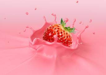 Strawberry falling into pink creamy liquid splashing.