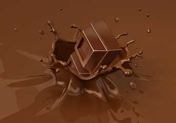 Chok blocks falling into liquid chocolate splashing.