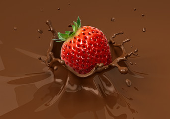 Strawberry falling into liquid chocolate splashing.