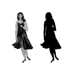 Silhouette of a girl with formal dress vector illustration