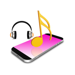 music symbol with smartphone, cell phone illustration