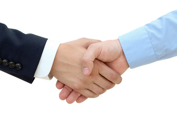 Close-up image of a firm handshake  between two colleagues on a