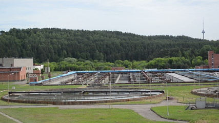 city sewage water treatment plant reservoir pools and equipment