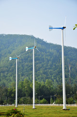 wind turbine or windmill plant in Phetchaburi Thailand
