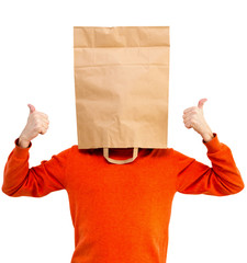 Man in bright clothes with a paper bag on head, isolated