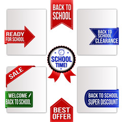 Collection of various back to school promo ribbons