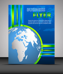 Business flyer template with globe, cover design, brochure