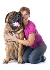 mastiff and woman